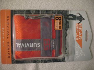 Bear Grylls Gerber 8 piece Survival Kit Waterproof Bag Knife Whistle
