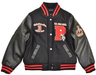 US Polo Assn Boys Black & Red Wool Varsity Jacket Size 4 5/6 7 $85