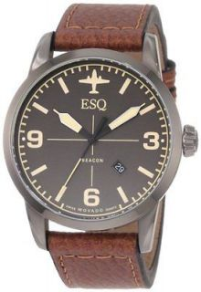ESQ by Movado Mens Swiss Black Leather Strap Beacon Watch 07301392