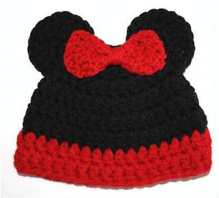 Crochet Girl Minnie Mouse Baby Hat Beanie Photo Prop 3 6 mo
