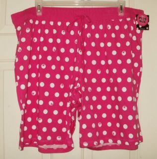 New 100% Cotton Pajama Bermuda Sleep Shorts 2X or 3X Pink Polka Dot