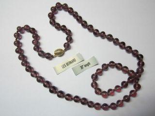 LES BERNARD Beautiful 30 Amethyst Glass Necklace Goldtone Clasp
