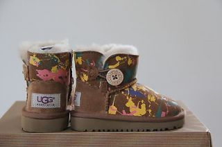 Ugg Australia Kids Bailey Button Paint Splatter boots Size 12 NIB