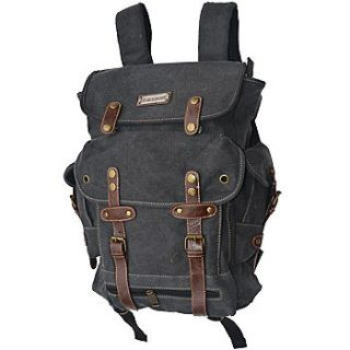 NEW WWII Backpack Vintage Style Heavy Duty Canvas Duffel Bag   Black