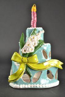 Heather Goldminc August Birthday Cake Votive Blue Sky Ceramic Gold