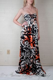 Beyonce House of Dereon Long Maxi Dress Orange White and Black Sz:0