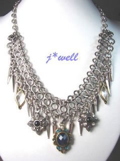 LUCKY BRAND BLUE CRYSTAL VINTAGE MULTI CHAIN NECKLACE *GIFT COLLECTION