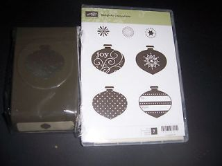 STAMPIN UP DELIGHTFUL DECORATIONS 7 PC CLEAR STAMP SET & ORNAMENT