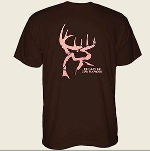 BUCK COMMANDER WOMENS SHIRT BROWN WITH PINK CAMO DEER LOGO