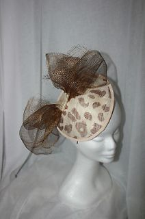 Leopard Print cream & brown sinamay Fascinator Races hat bow melbourne