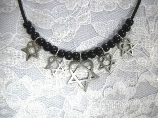 HIM H.E.R. HEARTAGRAM PENDANT & 4 CHARMS ON BLACK BEAD ADJ NECKLACE