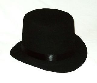 NEW ~ Size L ~ BLACK FELT TOP HAT Prom Wedding Tux Dress Up Costume