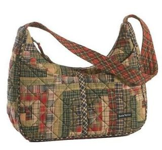 RED GREEN QUILTED FABRIC PATCHWORK BLAKELY HANDBAG PURSE~BELLA TAYLOR