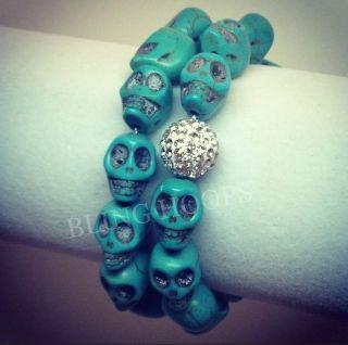Bling Hoops Turquoise Skull Swarovski Bracelet Skulls Blue BBW Charm