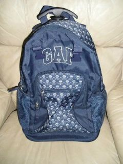 Used GAP Skulls Backpack Bookbag Carry on Wheels Blue Black Cool