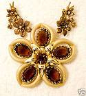 vintage jewelry set pin brooch earrings brown glass crystal gold tone