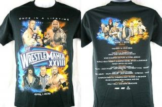 Wrestlemania 28 Rock vs John Cena WWE Once in a Lifetime T shirt New