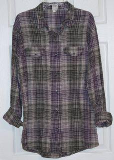 Hang Ten~Men Gray/Purple/Off White Plaid Flannel L/Sleeve Shirt~Size