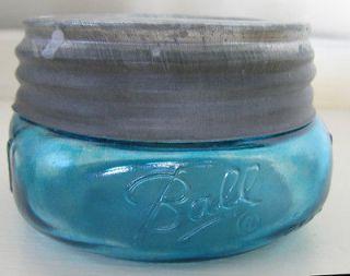 Blue BALL MASON WIDEMOUTH SQUATTY HALF PINT FRUIT JAR & VTG BALL ZINC