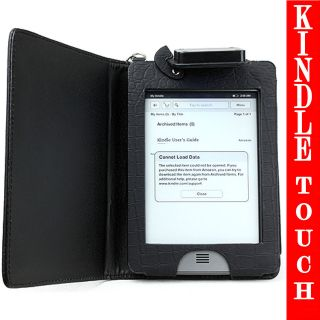 Kindle Touch Black Cover Case Crocodile with Built LED RECHARGEABLE