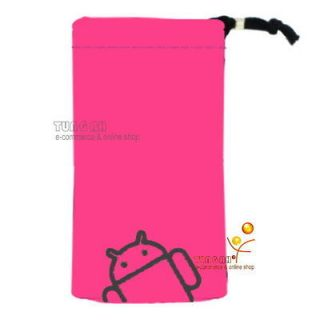 Pink Android Velvet Pouch Bag Case For Sony Xperia Arc S neo ZTE V880E