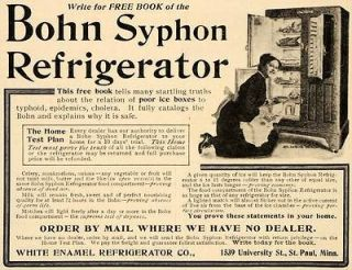 1907 Vintage Ad Bohn Syphon Refrigerator Icebox Antique   ORIGINAL