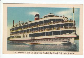 SS Columbia Bob Lo Bois Blanc Island Park Ferry Canada Postcard ON