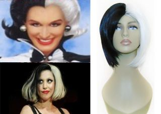 FASHIONABLE CRUELLA DEVILLE LADY GAGA WHITE & BLACK SHORT BOB WIG