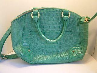 Brahmin Tyler Julep Melbourne Croc Leather Satchel Med Green $335