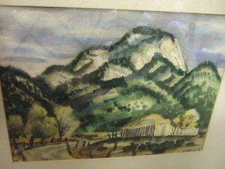 1955 Taos New Mexico Landscape WC Painting Topeka Kansas Artist