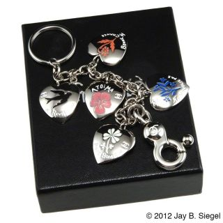 CHANEL Good Luck Hearts Enameled Charm Bracelet Key Chain Fob