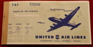 3953) Passenger Coupon United Air Lines Flight Ticket 1946