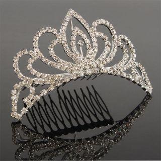 New Wedding Bridal Rhinestone Tiara Crown Hair Comb Pin 04