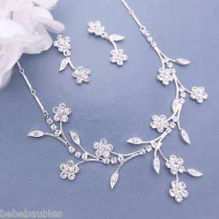 BRIDAL WEDDING Tiara BRIDESMAID Jewelry NECKLACE SET 46