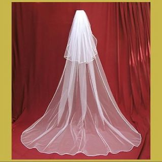 Long White Wedding Bridal Veil 2T  Chapel 2.5 + 0.5 Meters + Free