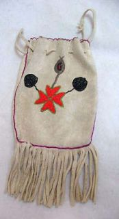 NATIVE AMERICAN BEADED DEERSKIN BUCKSKIN BAG / POUCH