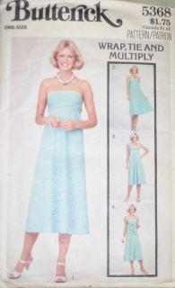 VTG Butterick Misses Wrap Tie Multiply Infinite Dress Pattern 5368 S M