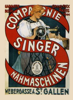 Sewing Sew Singer Machine Fashion Lady Paris 1900 Vintage Poster Repro