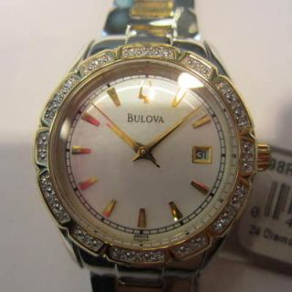BULOVA JAPAN LADYS WATCH QUARTZ DIAMOND ALL STAINLESS.S TWO TONE