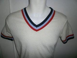 vtg 80s 70s TERRY CLOTH RINGER SHIRT retro gym tennis running sz YOUTH