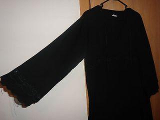 Black Floral Embroidered Abaya Galabiya Galabeya Kaftan Caftan Jilbab