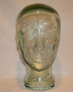 Vintage Green Glass Mannequin Head  Wig Hat Scarve Sunglasses Helmet