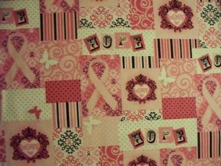 BREAST CANCER PINK RIBBONS OF HOPE COTTON FABRIC FQ