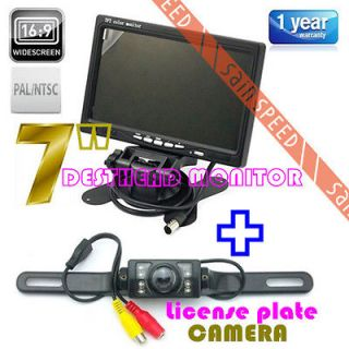 Color Car Rearview Headrest Monitor IR Remote + License Plate Camera