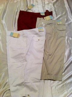Womens Sonoma Modern Fit Rust, White, Tan Capris Pants Sizes 16W, 20W