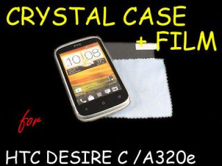 Clear Crystal Cover Hard Case + Screen Protector for HTC Desire C