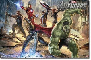 2012 MARVEL COMICS AVENGERS MURAL IRON MAN HULK CAPTAIN AMERICA 22x34