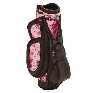 BURTON MILANO LADIES CART GOLF BAG   DARK BROWN/PINK PRINT