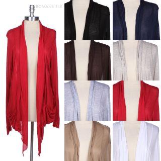 JUNIOR PLUS SIZE] Plain Shawl Collar Long Sleeve Open Draped Cardigan