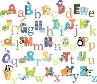 CC New Educational Animal Alphabet Wall Sticker Decals kids boys girls